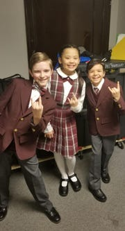 "Eamonn Huber, left, understudies four roles as a swing for the tour of ""School of Rock."""