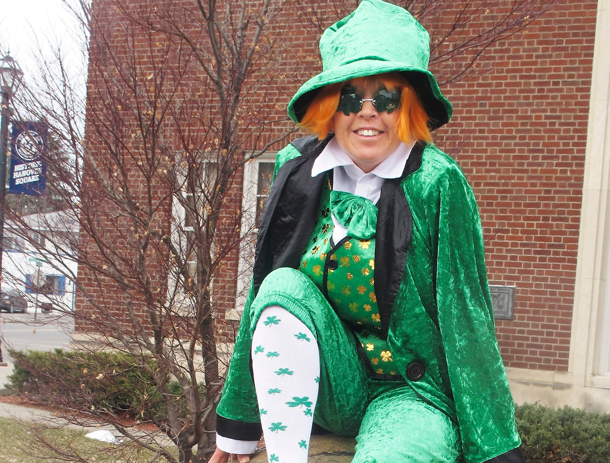 2013: Bunny Lynch of Lynch's Funeral Home in Horseheads is all set for Saturday's 10th annual Horseheads St. Patrick's Day parade.