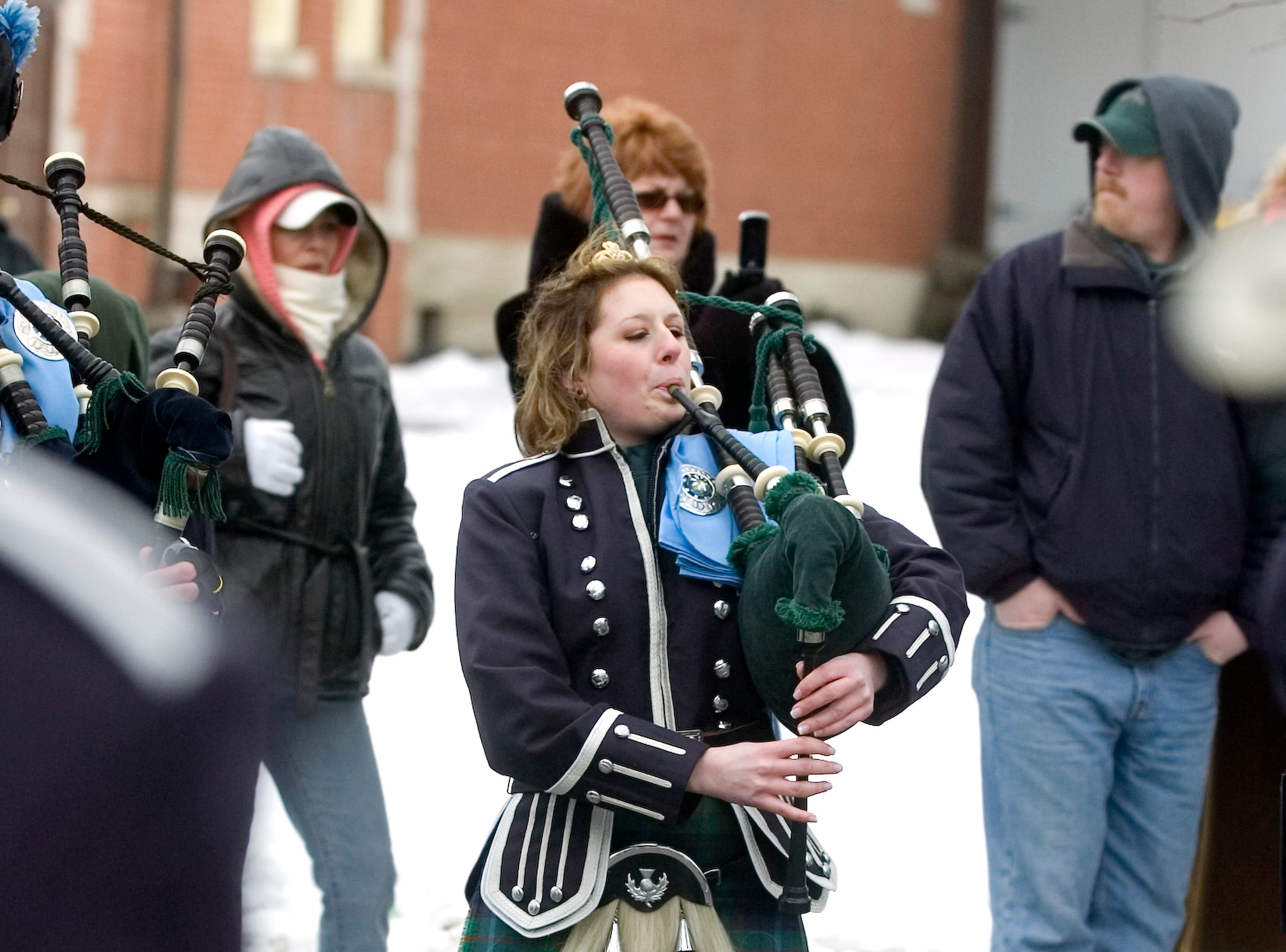 2005: Windsor Central High School senior Gabrielle Bohn-Blodgett, 17, plays with the Edward P. Maloney Memorial Pipe Band on Saturday during the St. Patrick's Day Parade in Binghamton. She also is this year's Maid of Erin.