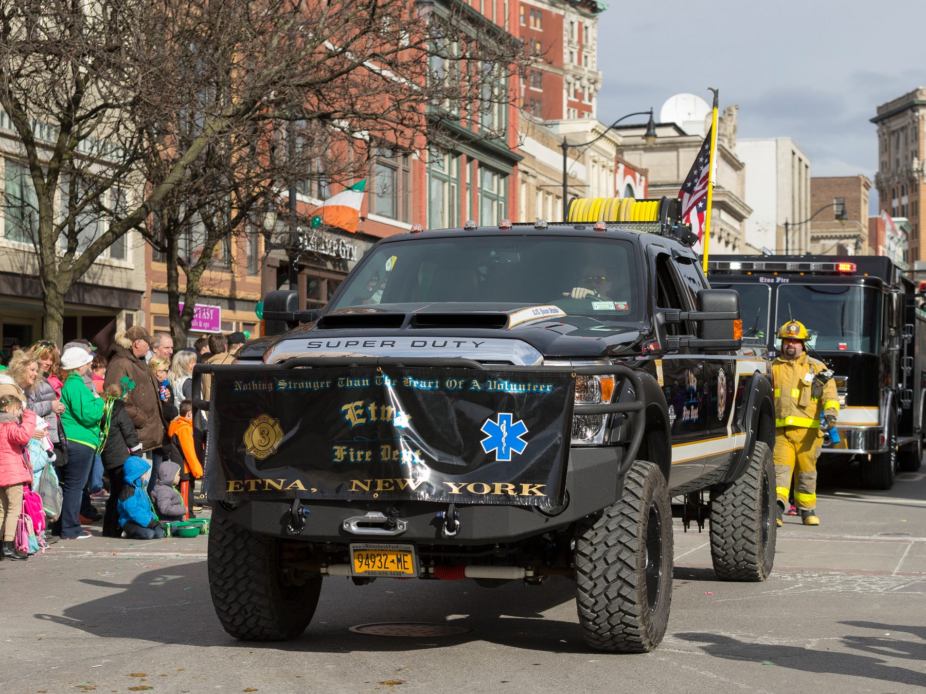 2016: The Etna Volunteer Fire Department's brush truck leads the company's contingent in the Binghamton St. Patrick's Day parade Saturday afternoon.