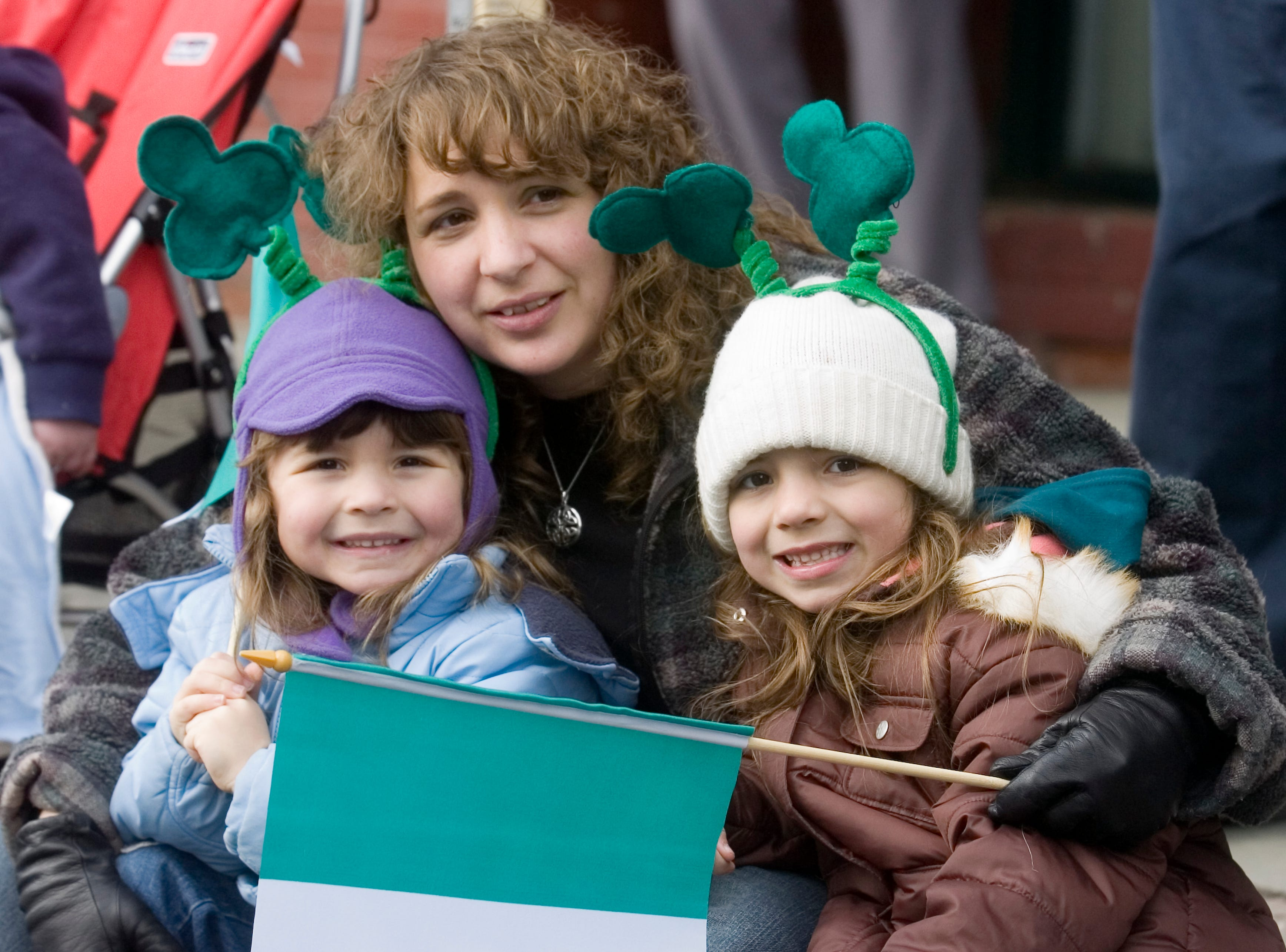 2007: Katrina Worden of Franklin poses with her kids Meghan, 3, left, and Christina, 6, at the annual Binghamton St. PatrickÕs Day Parade on Saturday.