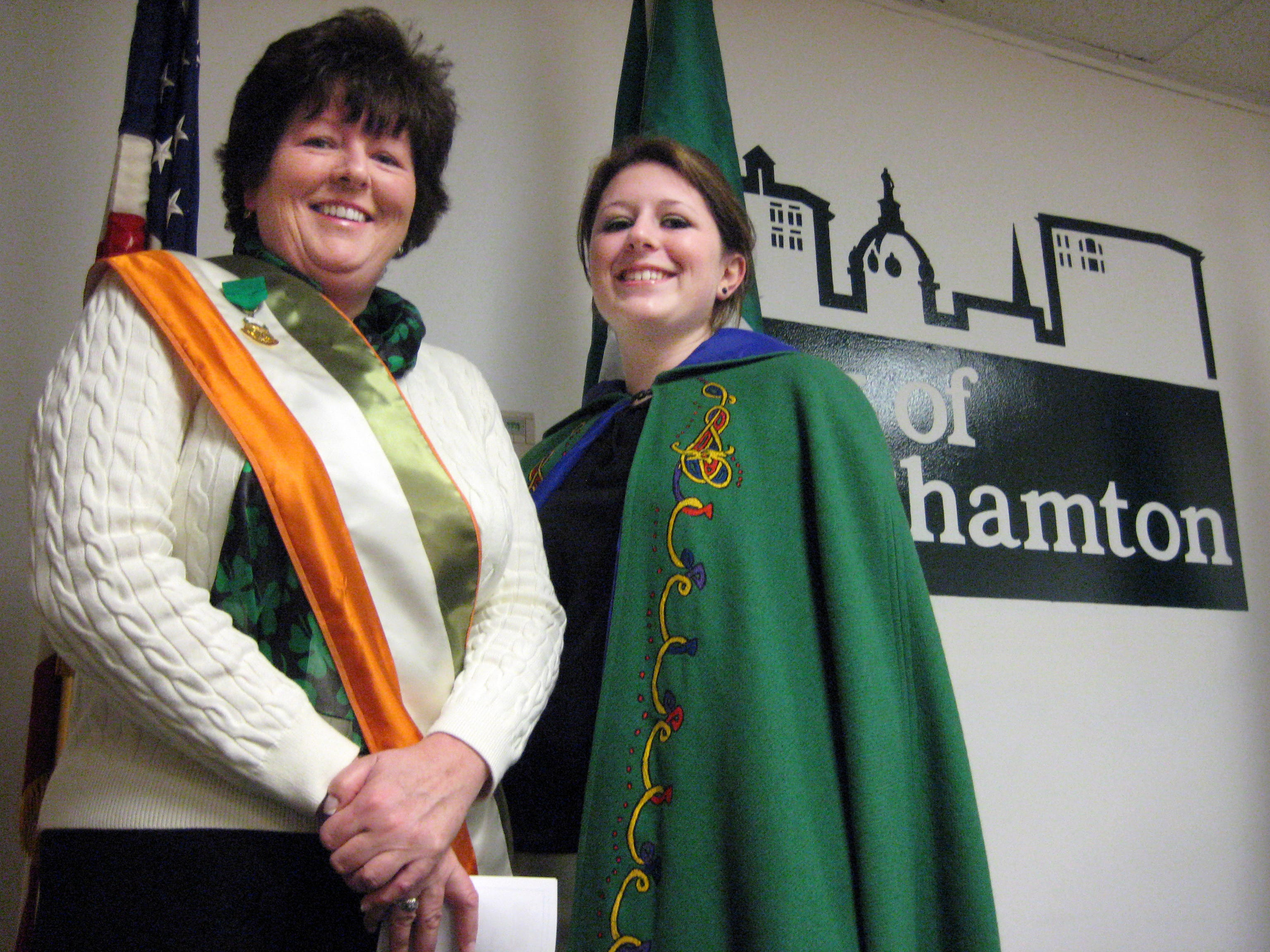 2008: Gabrielle Blodgett, right, will be the Maid of Erin and play the bagpipes alongside her mother, Kathy Blodgett, at Binghamton's St. Patrick's Day Parade.