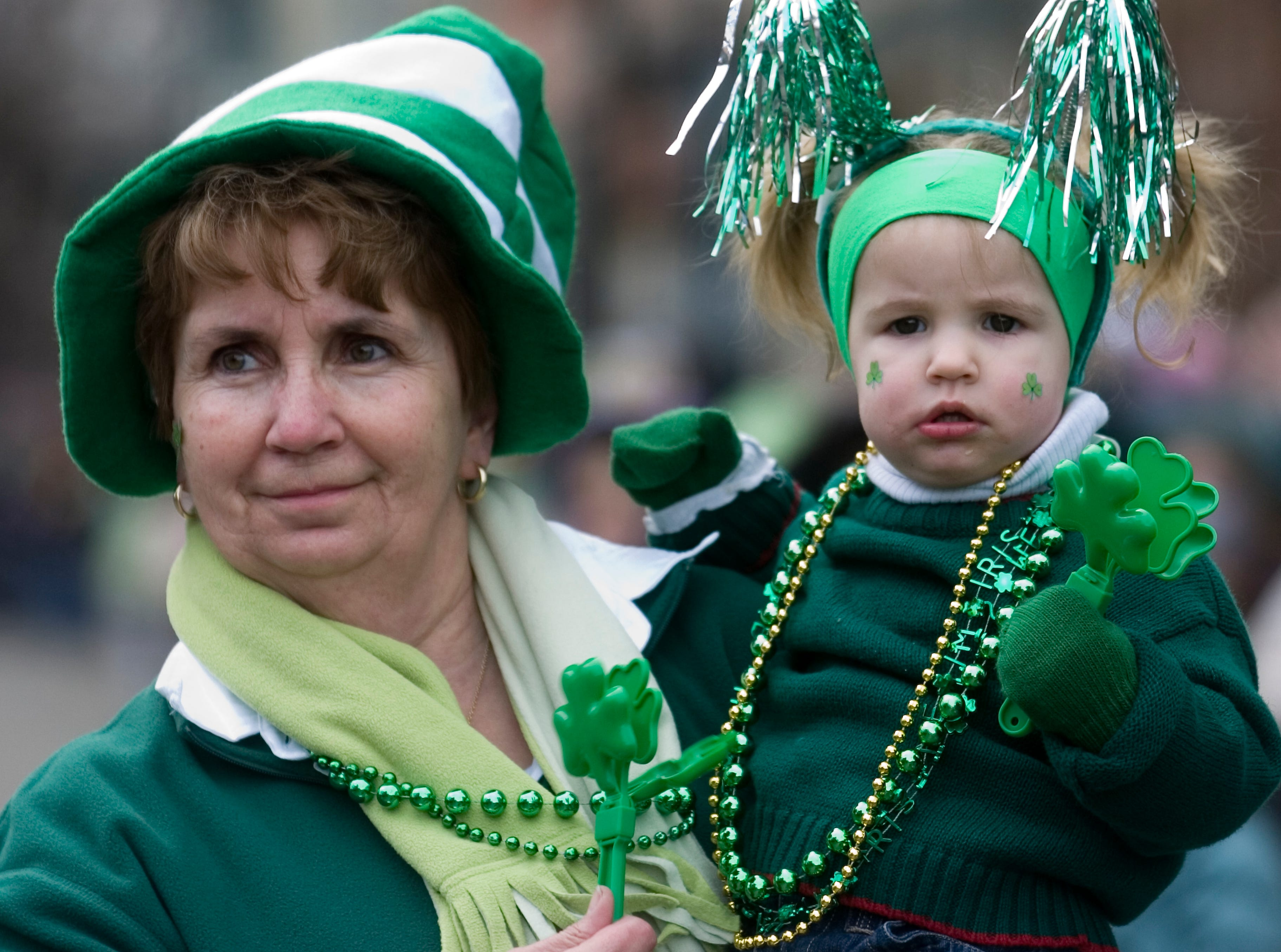 2007: Elli Frantellizzi of Port Crane holds her granddaughter Jairyn OÕHer, 20 mo. Of Chenango Forks during the annual BinghamtonÕs St. PatrickÕs Day Parade on Saturday.