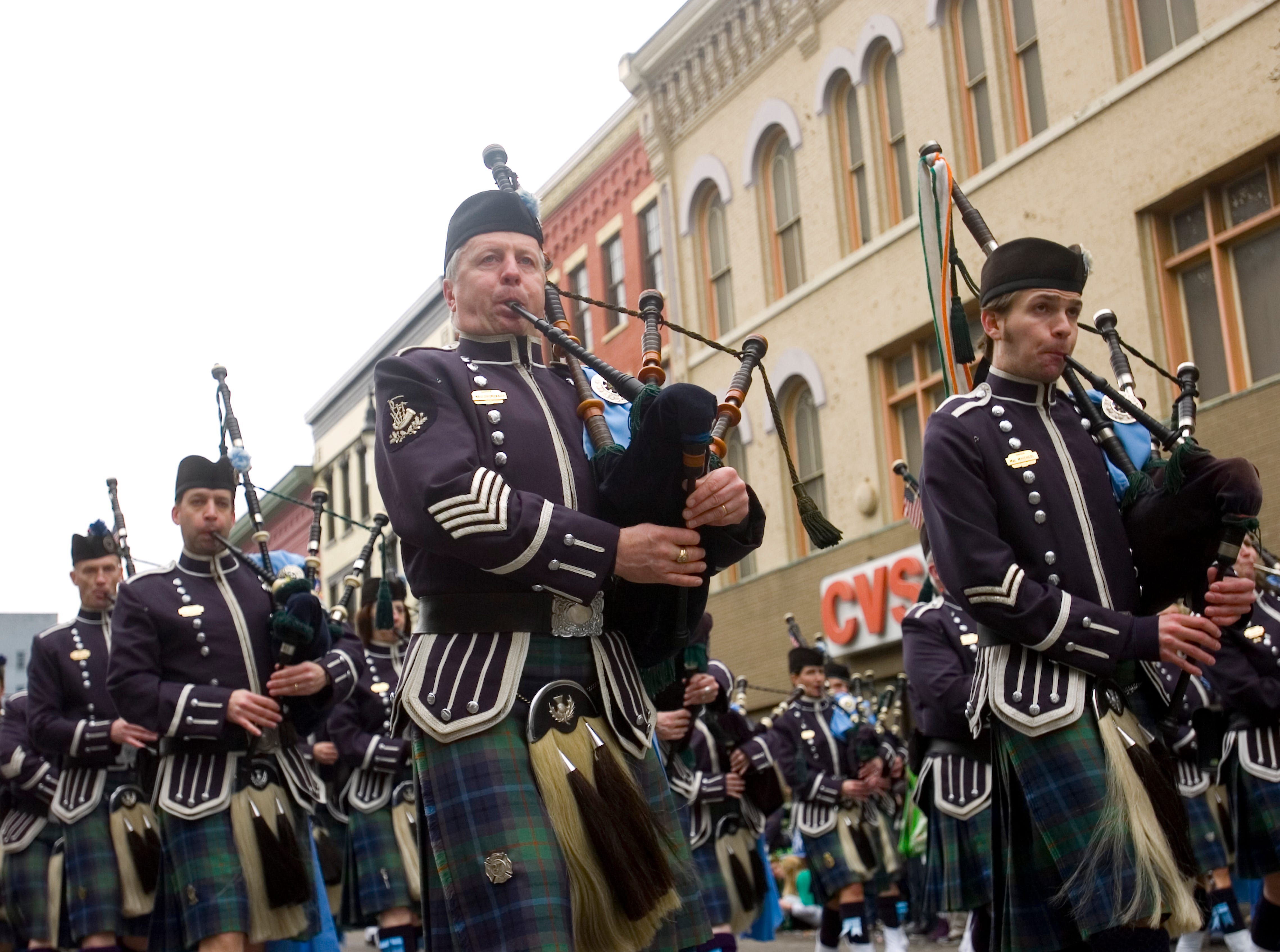 2011: The Edward P. Maloney Memorial Pipe Band participates in the 44th annual St. Patrick's Day parade is held in downtown Binghamton on Saturday.
