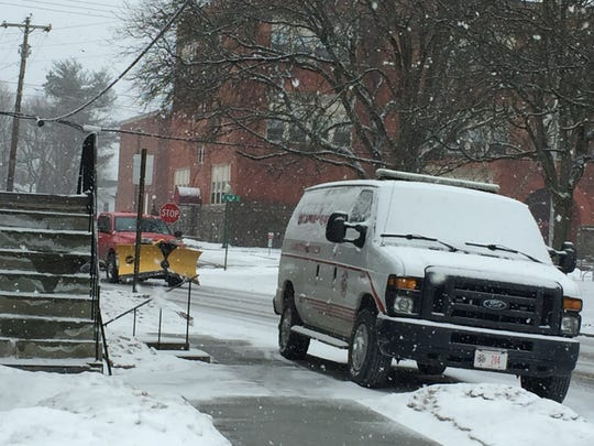 A Chenango County corrections vehicle outside the courthouse during Ernest Franklin's murder trial on Feb. 27, 2019.