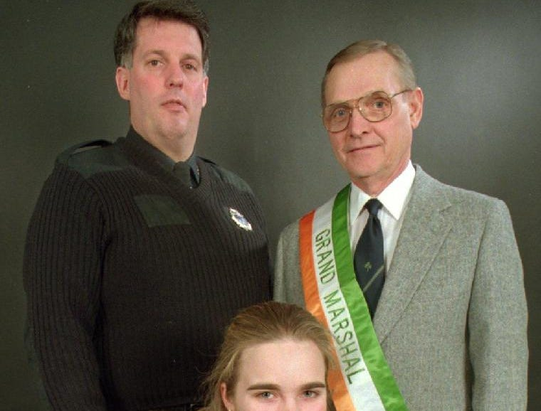 """1997: Officials for Binghamton's Saint Patrick's Day Parade: Patrolman Michael Talbut, left, will be the official starter, Edward Bradley, right, will be the Grand Marshall, and Brianna McGuire will be the """"Maid of Erin."""""""