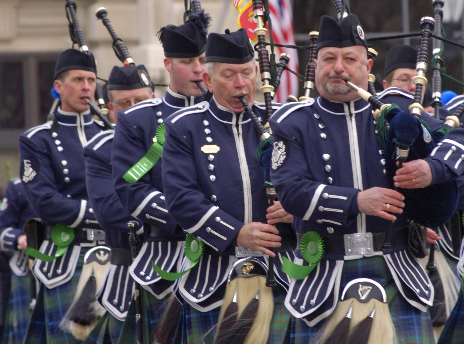 2006: Bagpipers from the Edward P. Maloney Memorial Pipe Band from Broome County were one of several bagpipe bands that marched in the St. Patrick's Day Parade in Binghamton on Saturday.