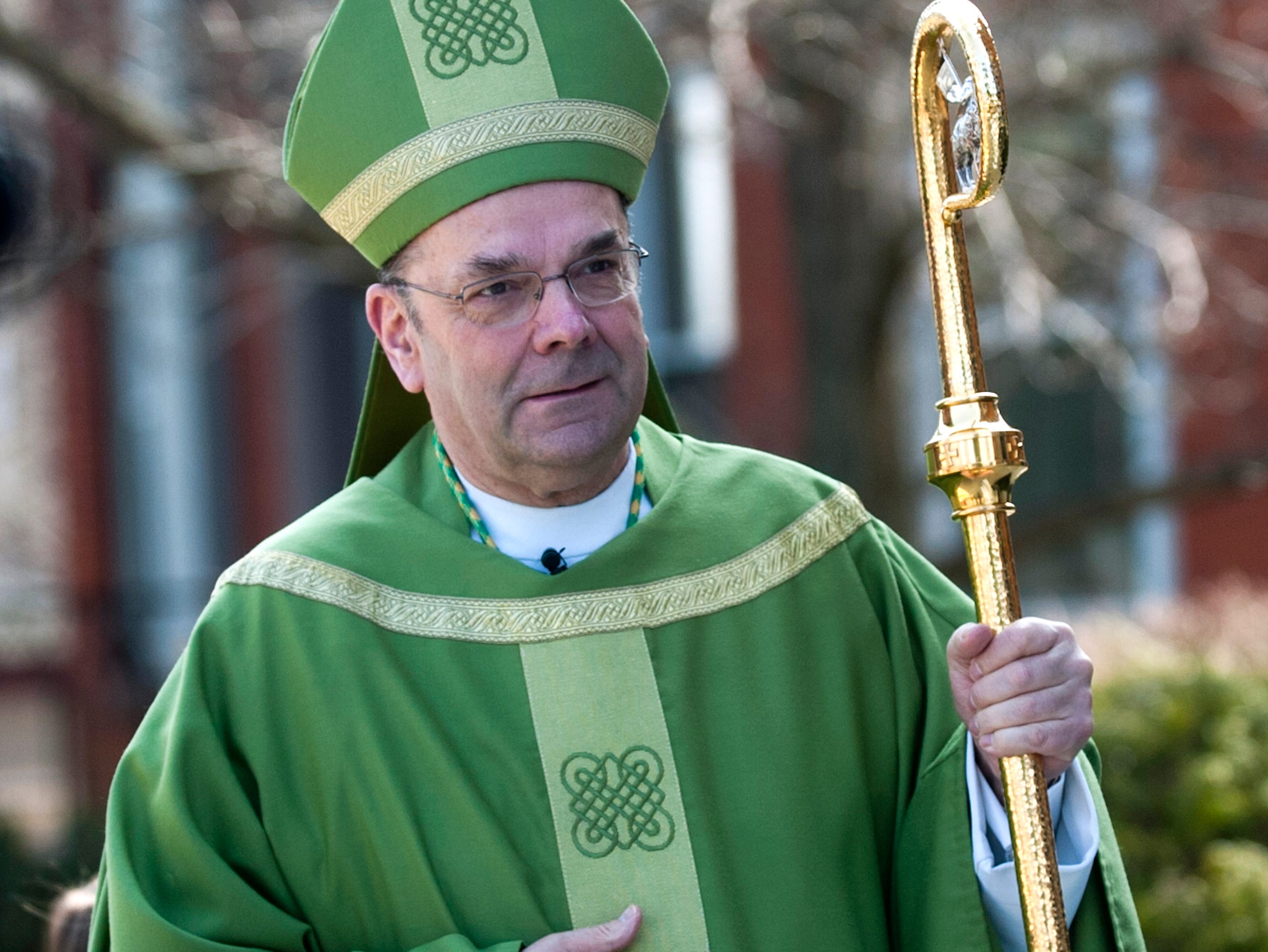2011: Bishop Robert J. Cunningham, of the Syracuse diocese, enters St. Patrick Catholic Church on Leroy Street in Binghamton to lead a Thursday Mass in celebrations of St. Patrick's Day.