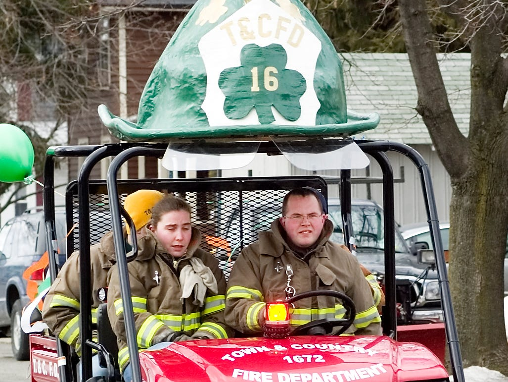 2007: A unit from the Horseheads Town & Country Fire Department crosses Grand Central Avenue during Sunday's Horseheads St. Patrick's Day parade.