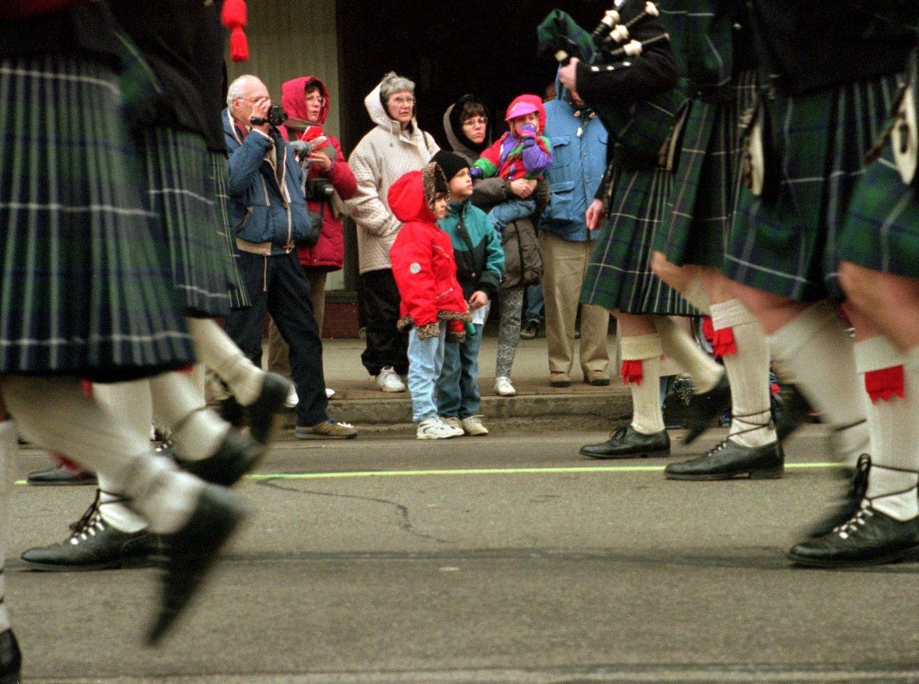 1997: Despite the cold temperatures Saturday, dozens of kilts were seen on Court Street as bagpipe bands played to the delight of onlookers.