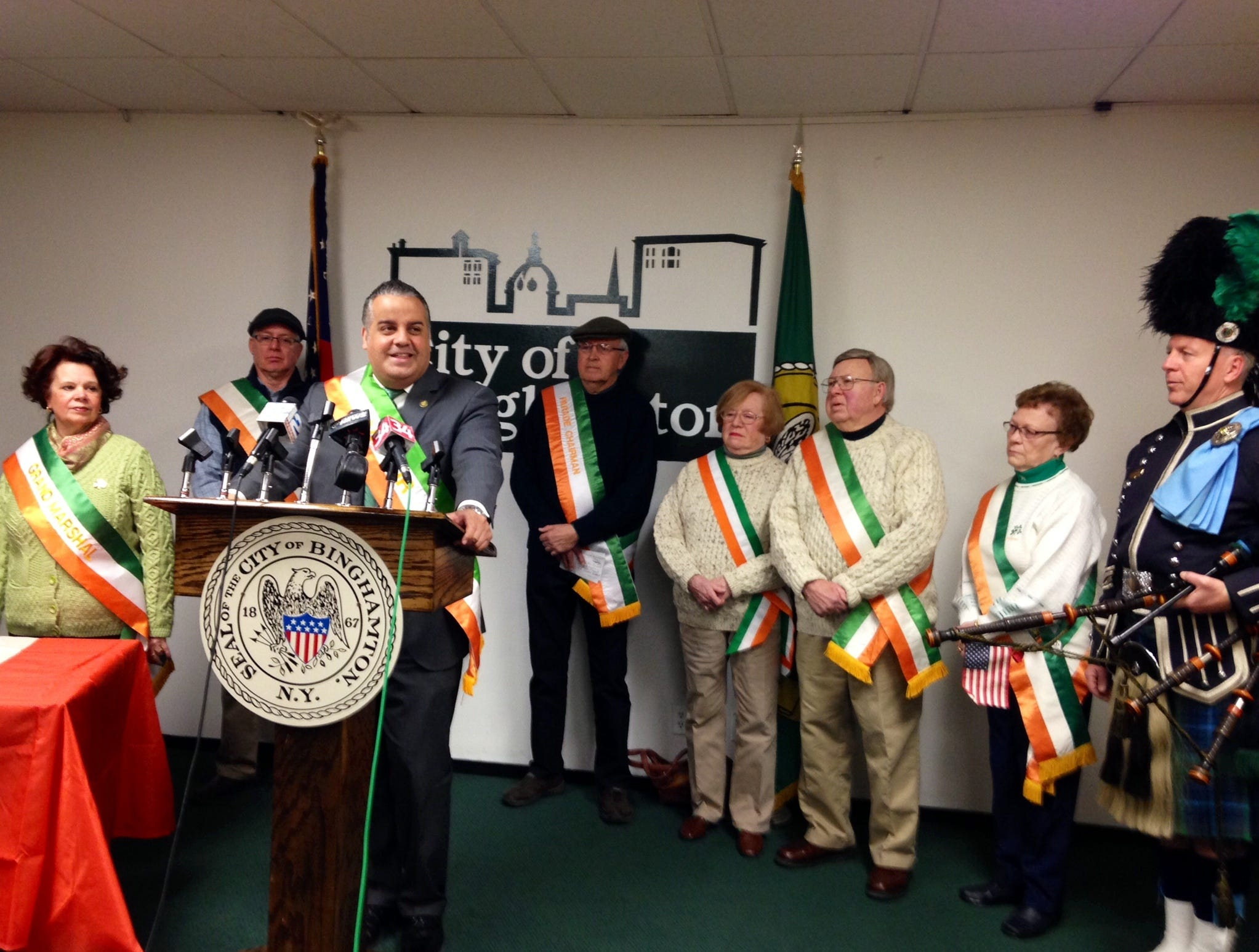 2016: Binghamton Mayor Richard David held a press conference  Thursday at City Hall to outline details of Saturday's St. Patrick's Day Parade.