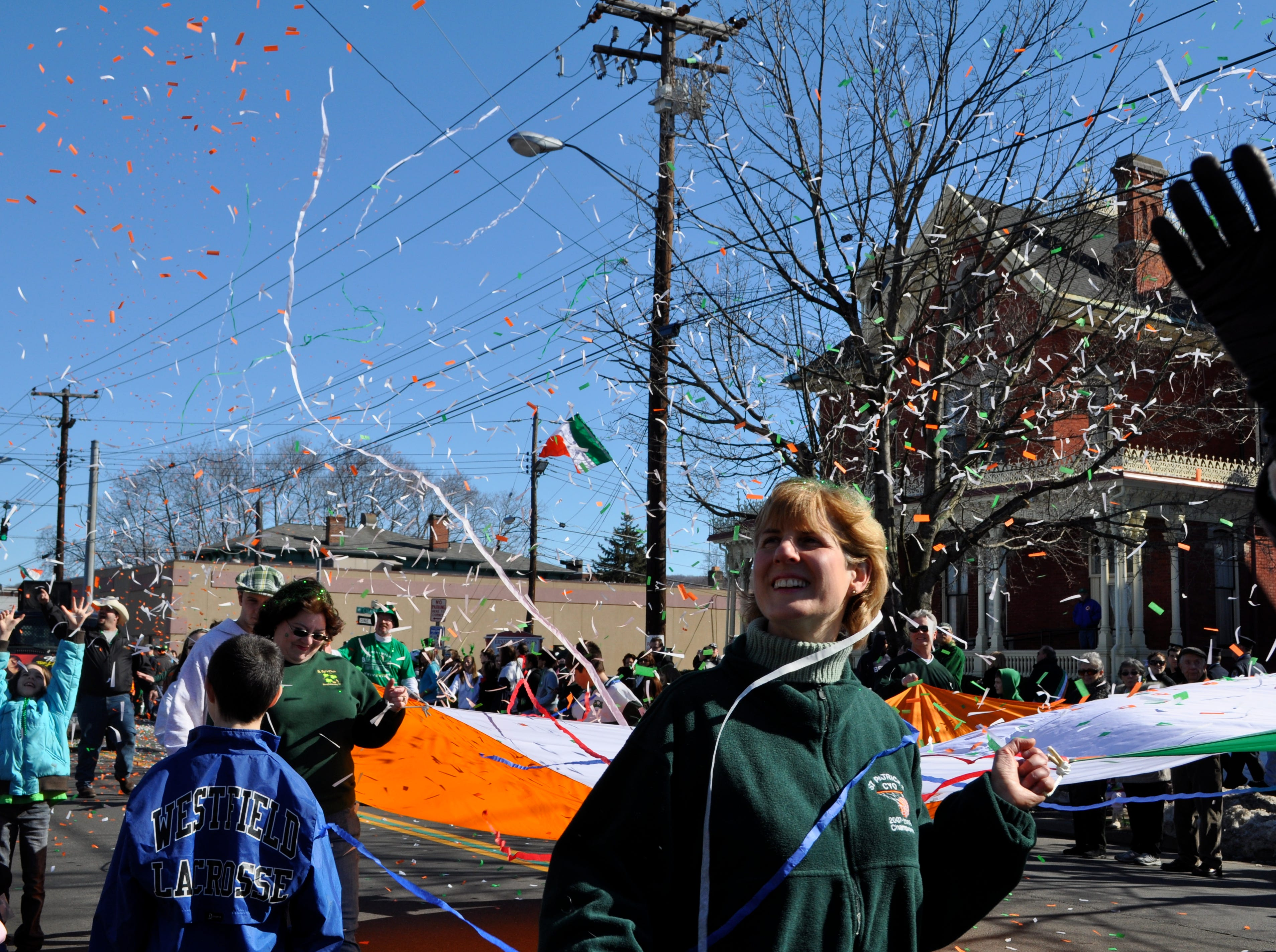 2010: Confetti fills the air Saturday at the St. Patrick's Day parade in downtown Binghamton.