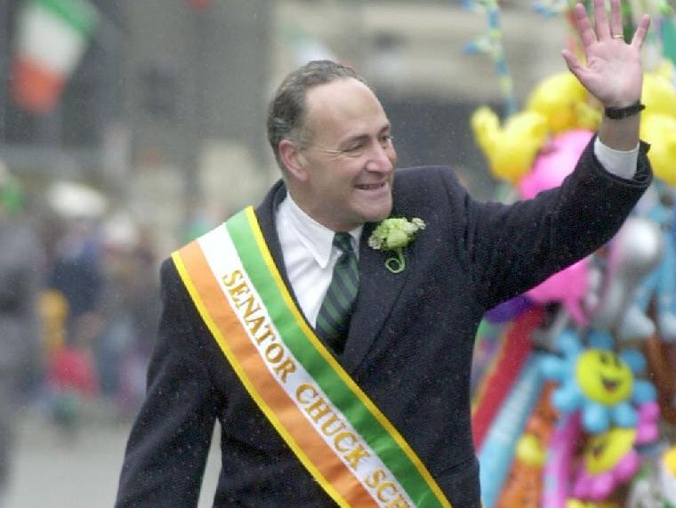 2001: Senator Charles Schumer, D-NY, waves to the crowd watching the annual St. Patrick's Day Parade in downtown Binghamton.