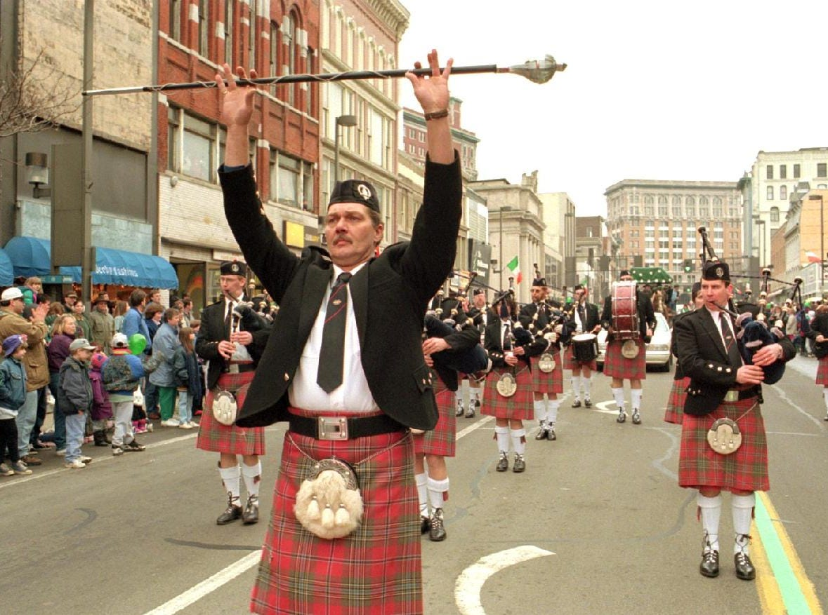 1997: Drum Major Bob LaMora leads the Schenactady Pipe Band on Court Street during the St. Patrick's Day parade Sun.