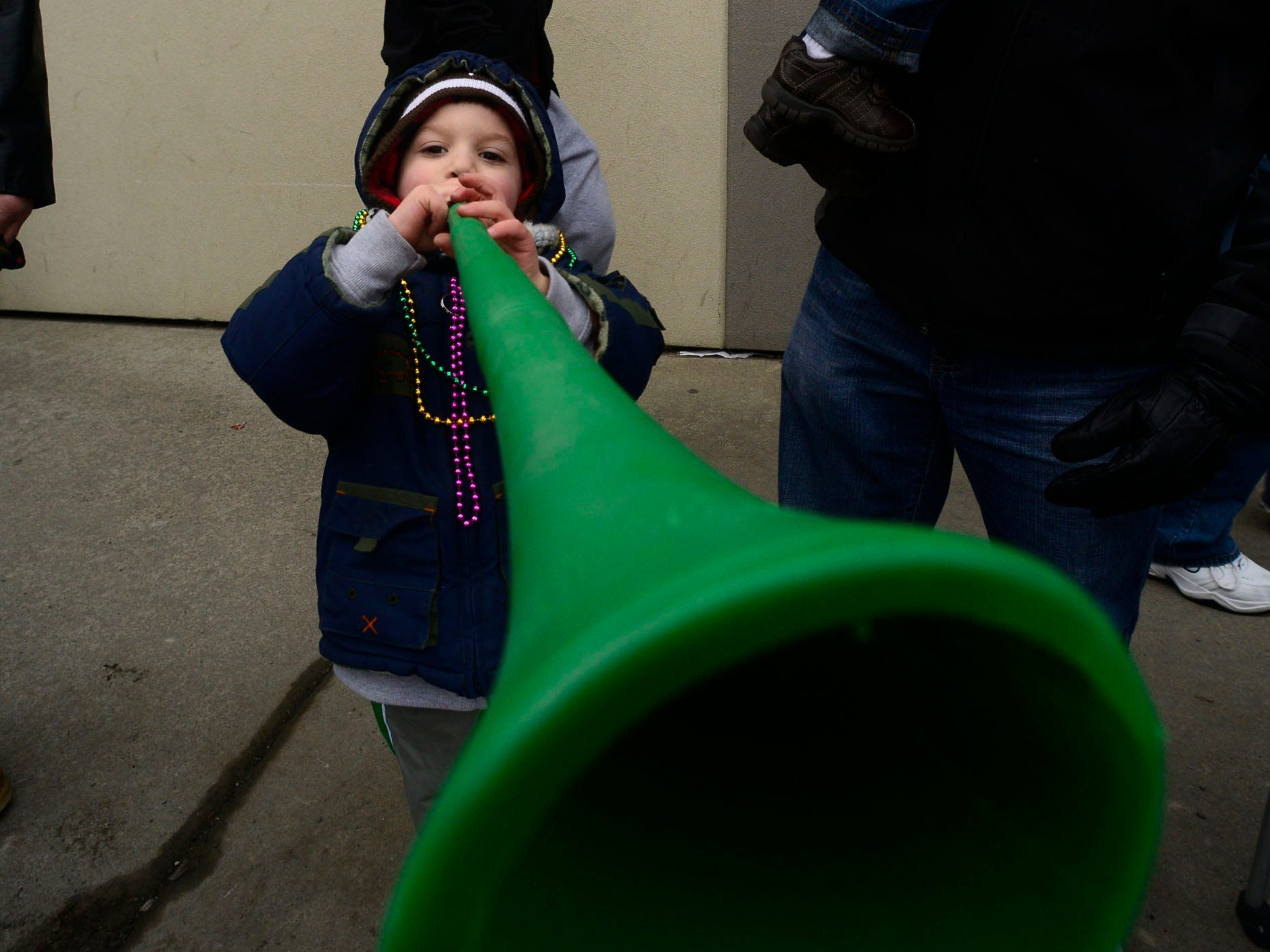2013: Vito Marascia, 4, from Cohoes, blows a horn during the St. Patrick's parade in Binghamton on Saturday, March 2, 2013.