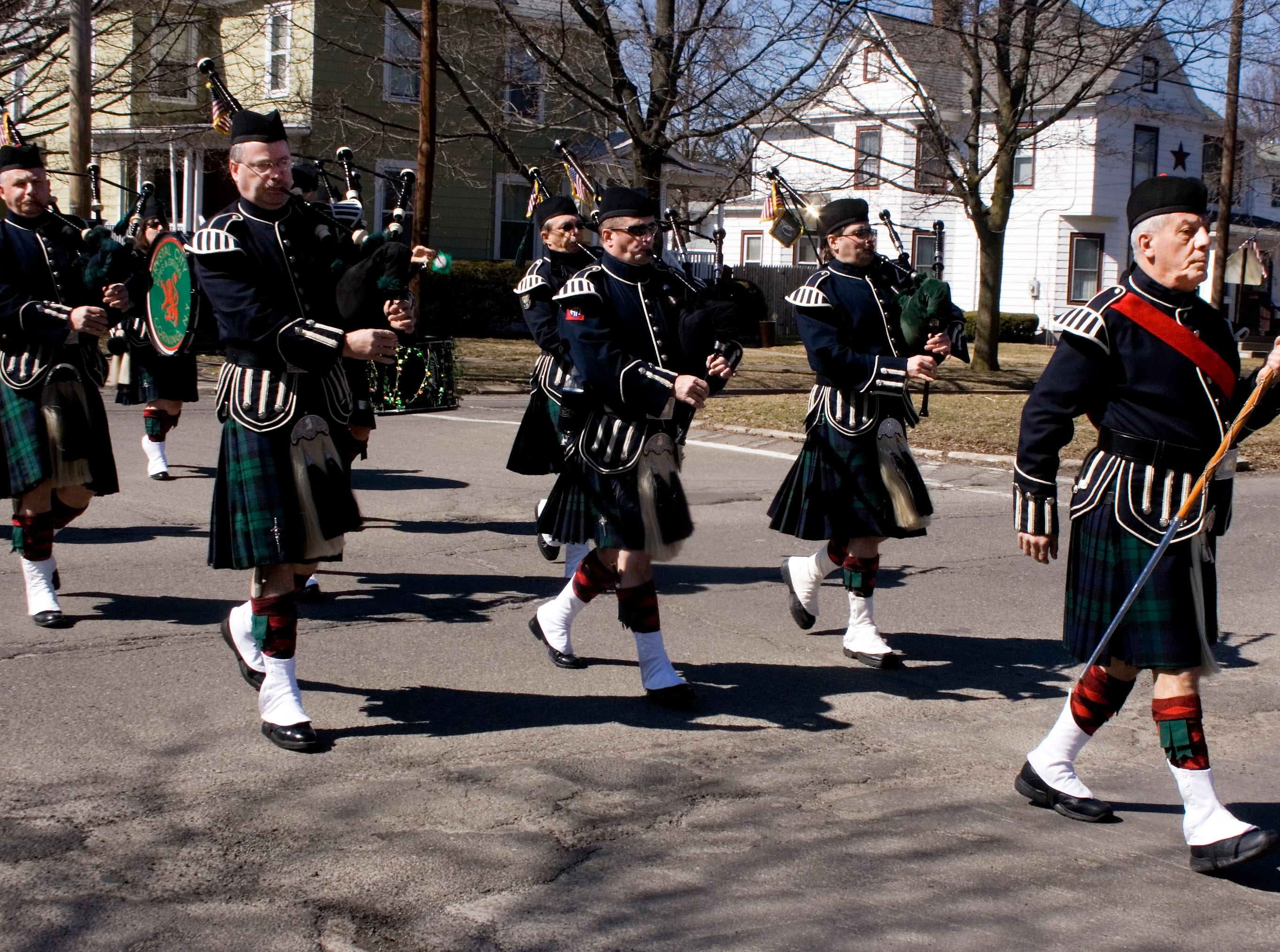 2009: Members of the Crystal City Pipes and Drums Band take part in Sunday's St. Patrick's Day parade in Horseheads. More than 30 units participated in this year's event.