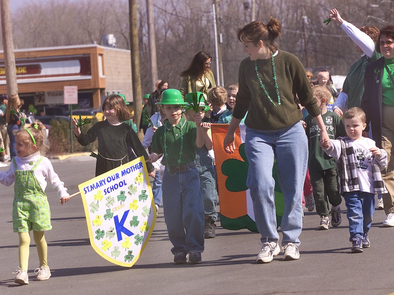 2003: Members of the St. Mary Our Mother School kindergarten class march through Hanover Square on Monday during the St. Patrick's Day parade.