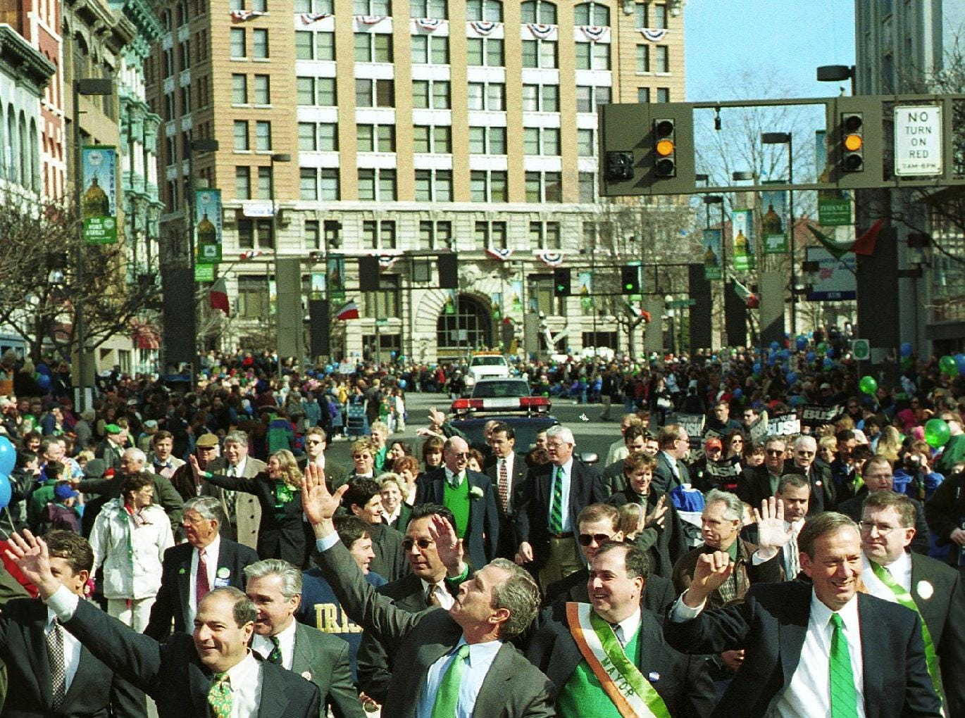 2000: The annual St.Patrick's Day parade in Binghamton had a few more people than usual including from left, State Senator Thomas Libous, Presidential Candidate George W. Bush, Binghamton Mayor Richard Bucci, and New York Governor George Pataki, March 4, 2000.