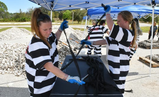 A press conference in Sharpes to announce a new partnership between the Brevard County Sheriff's Office and the Brevard Zoo to use trustee inmate labor to transfer oyster shells  into the Indian River Lagoon, which will help clean the water.