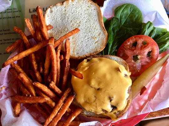 The All-American burger at Cabana Shores is a big one, clearly hand-pattied and served on a quality kaiser roll.