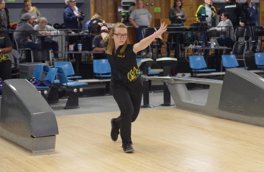 Rockledge grad Danielle Koehler, the Allegheny Mountain Collegiate Conference Bowler of the Week. Courtesy of St. Vincent College (Pa.).