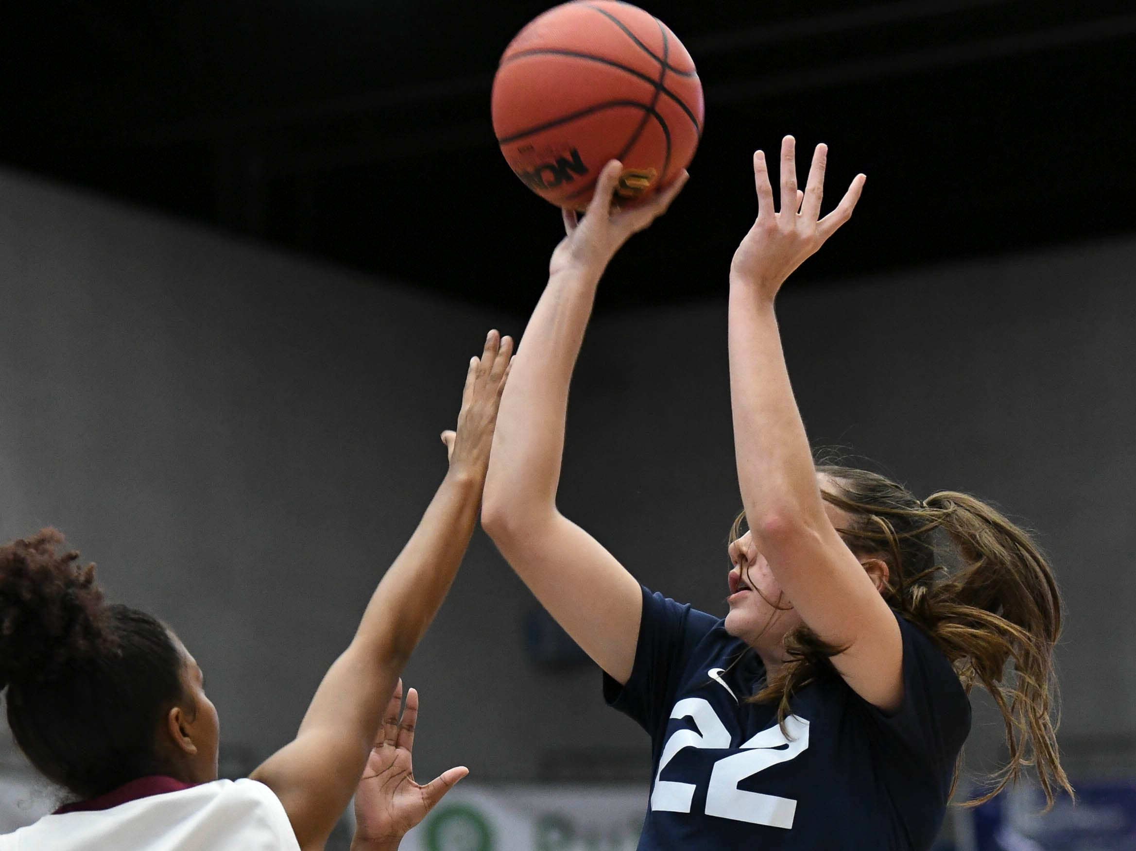 Aleah Sorrentino of Florida Prep shoots over Sierra Bell of Bayshore Christian during Tuesday's Class 2A state championship game.