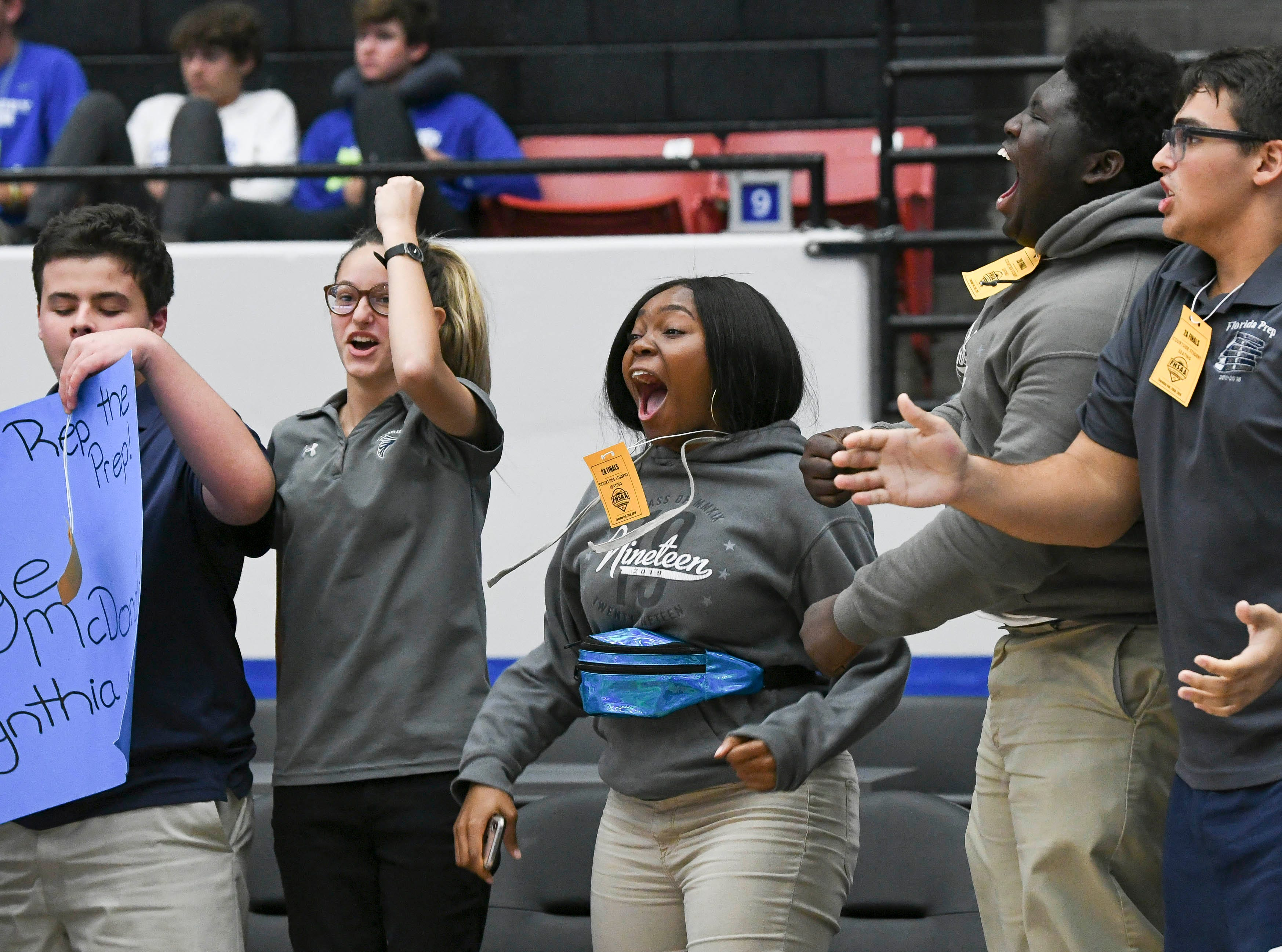 Florida Prep fans cheer for the Lady Falcons during Tuesday's Class 2A state championship game.