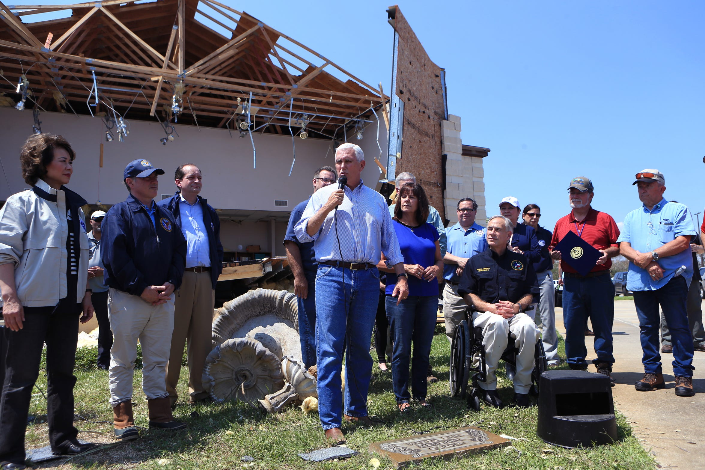 Vice President Mike Pence speaks to a large crowd gathered in Rockport, TX at the First Baptist Rockport on Thursday, August 31, 2017. Several secretaries of state and the Vice-President visited Rockport to reaffirm the federal government's promise of help for victims of Hurricane Harvey.