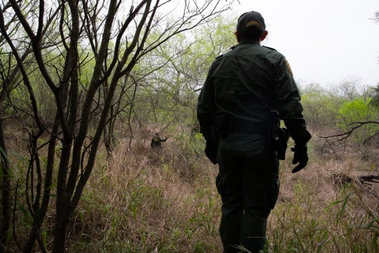 Border Patrol Agent Hermann Rivera and other agents search and area of brush in Penitas, TX  for migrants spotted running in the area on Tuesday, Feb. 26, 2019.