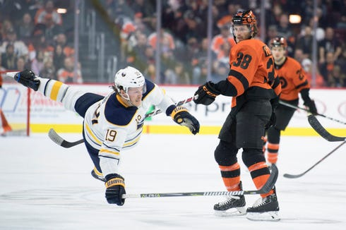 Flyers' Ryan Hartman (38) checks Sabres' Jake McCabe (19) Tuesday, Feb. 26, 2019 at the Wells Fargo Center in Philadelphia, Pa. The Flyers won 5-2.