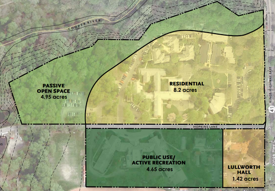 A map shows proposed uses for the former Bancroft site in Haddonfield.
