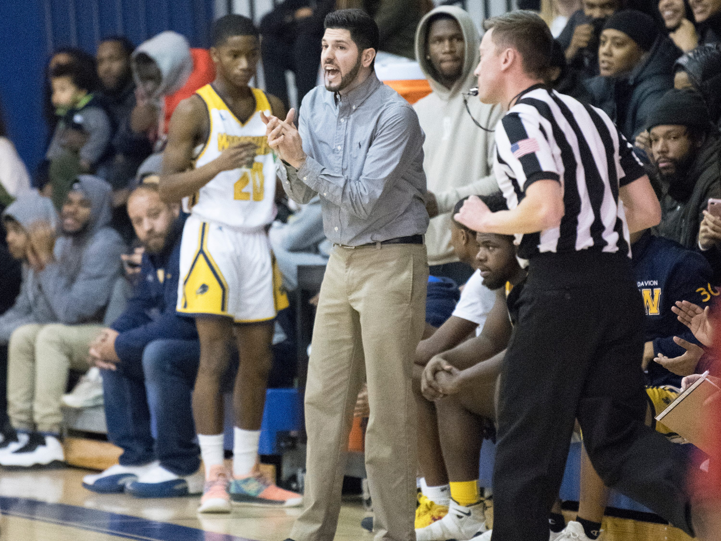 Woodbury High School's boys basketball coach Joe Albano cheers on his players as they face Paulsboro in the South Jersey Group 1, first round boys basketball playoff game played at Woodbury High School on Tuesday, February 26, 2019.   Woodbury defeated Paulsboro, 69-41.
