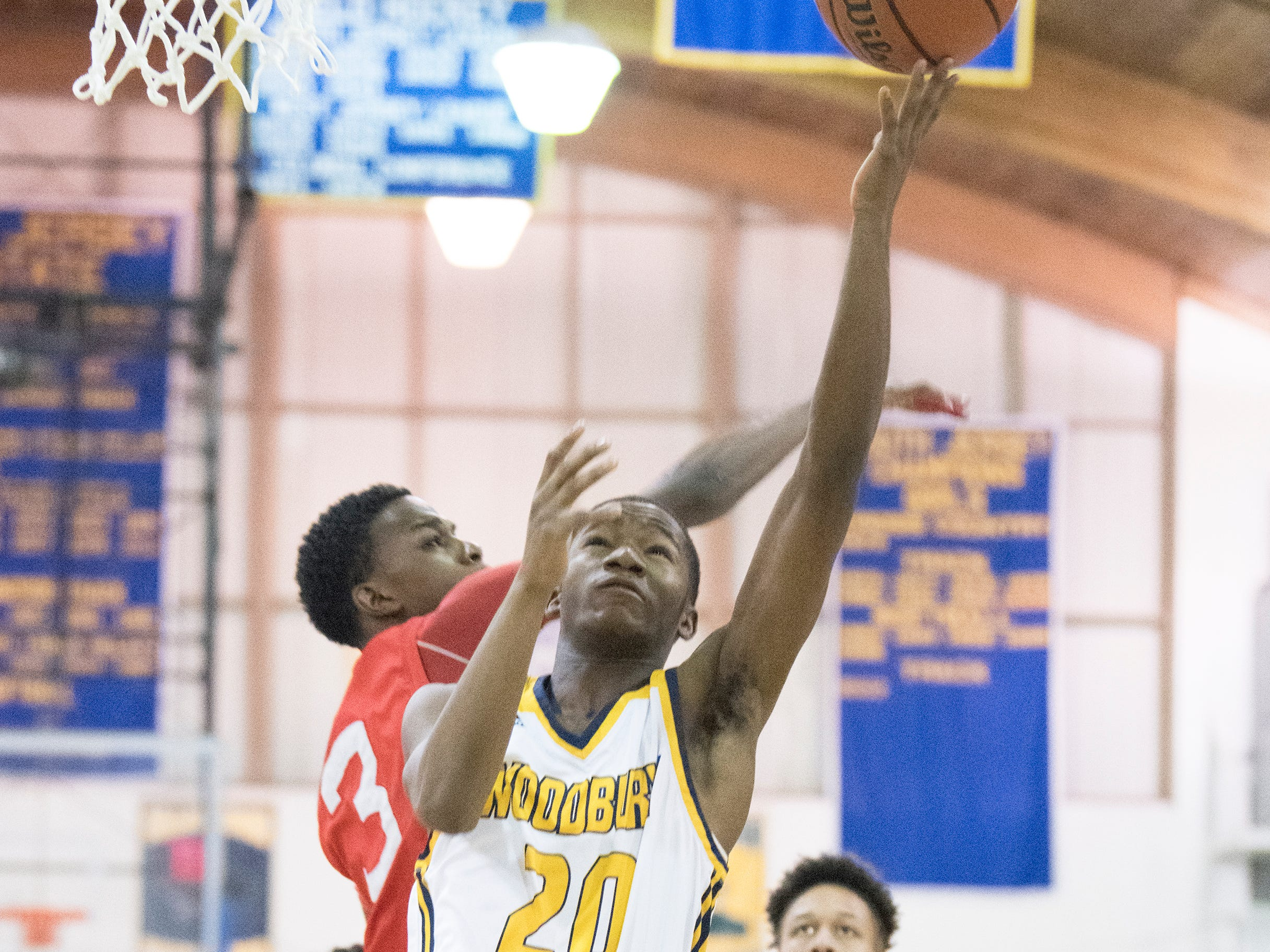 Woodbury's Javon Solomon shoots during the 1st quarter of the South Jersey Group 1, first round boys basketball playoff game between Woodbury and Paulsboro played at Woodbury High School on Tuesday, February 26, 2019.   Woodbury defeated Paulsboro, 69-41.