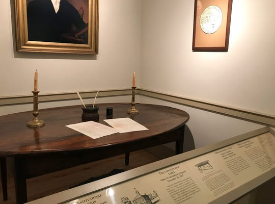 The Ross County Historical Society's Statehood Day celebrations include the original table the state constitution and other original documents were signed on.