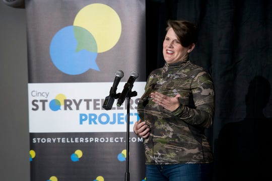 Bonnie Jean Feldkamp tells the story of her unconventional proposal at the Cincy Storytellers Project: Romance -- or Not at the Transept Tuesday, February 27, 2019 in Cincinnati, Ohio.