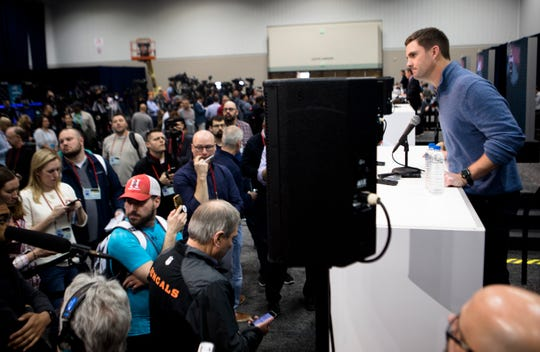 Bengals head coach Zac Taylor speaks to the media during the NFL Combine in Indianapolis, Ind., on Wednesday, Feb. 27, 2019.