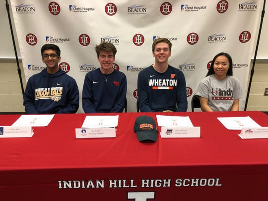 Indian Hill High School seniors Rohan Bagli (squash, George Washington University), Ben Bayless (cross country and track, University of Dayton), Johnny Bultema (basketball, Wheaton College), and Claire deHamel (soccer, University of Indianapolis) participated in an athletic signing ceremony Feb. 27, 2019.