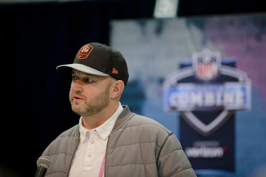 Bengals director of player personnel Duke Tobin speaks to the media during the NFL Combine in Indianapolis, Ind., on Wednesday, Feb. 27, 2019.