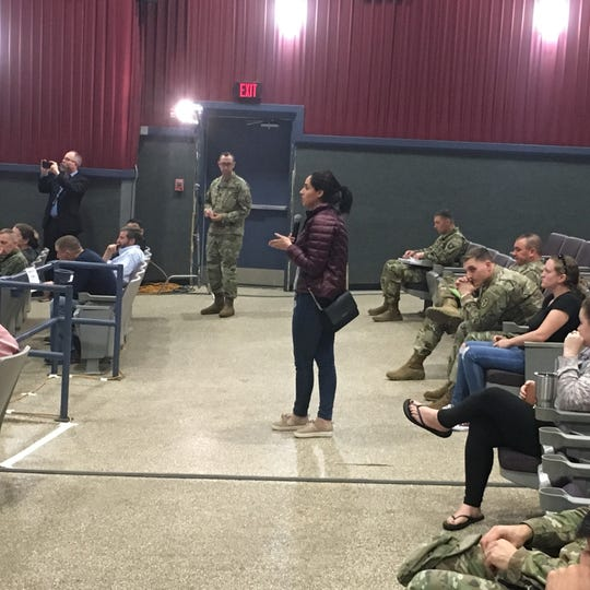 At a February 2019 town hall meeting on post, Fort Campbell resident Ilse Zapata talks about the stairs in her older home on post that caused her to fall when she was five weeks pregnant.