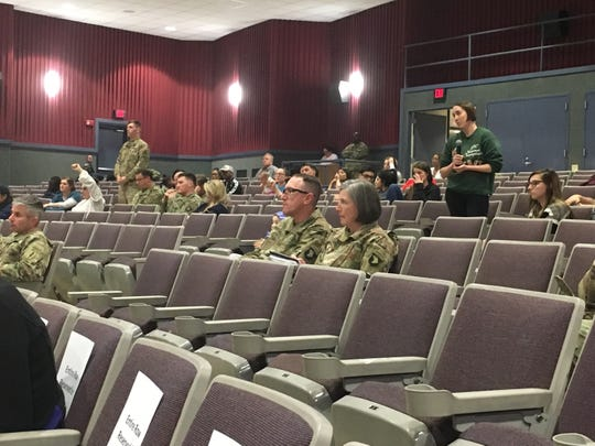 Soldiers and spouses air grievances Tuesday night about family housing on post during a town hall.
