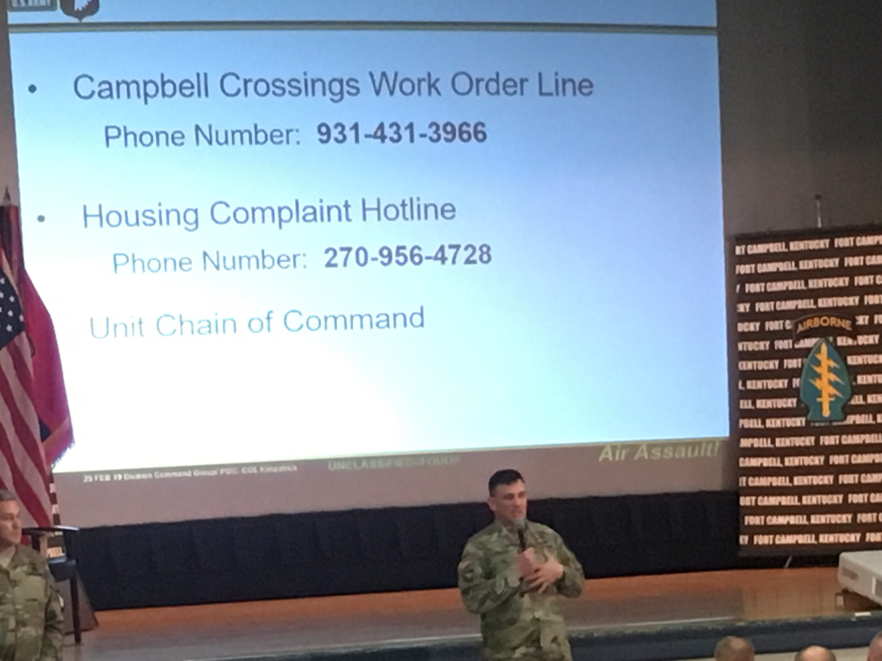 Fort Campbell Garrison Commander Col. Joseph P. Kuchan shares phone numbers for on-post residents to call with housing problems and complaints.