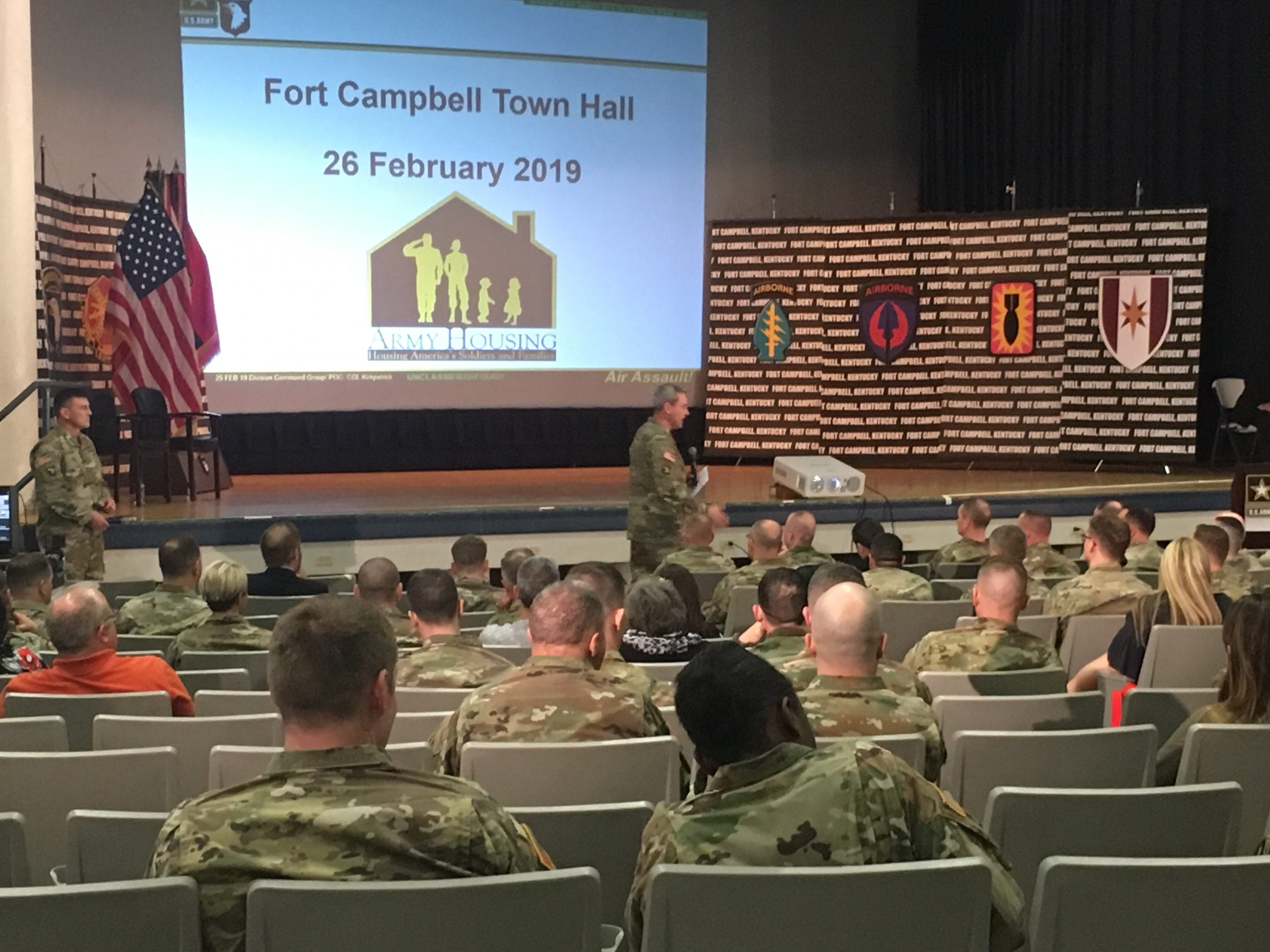 Maj. Gen. Brian Winski, 101st Airborne Division and Fort Campbell commanding general, welcomes soldiers and spouses to a town hall about on-post housing.