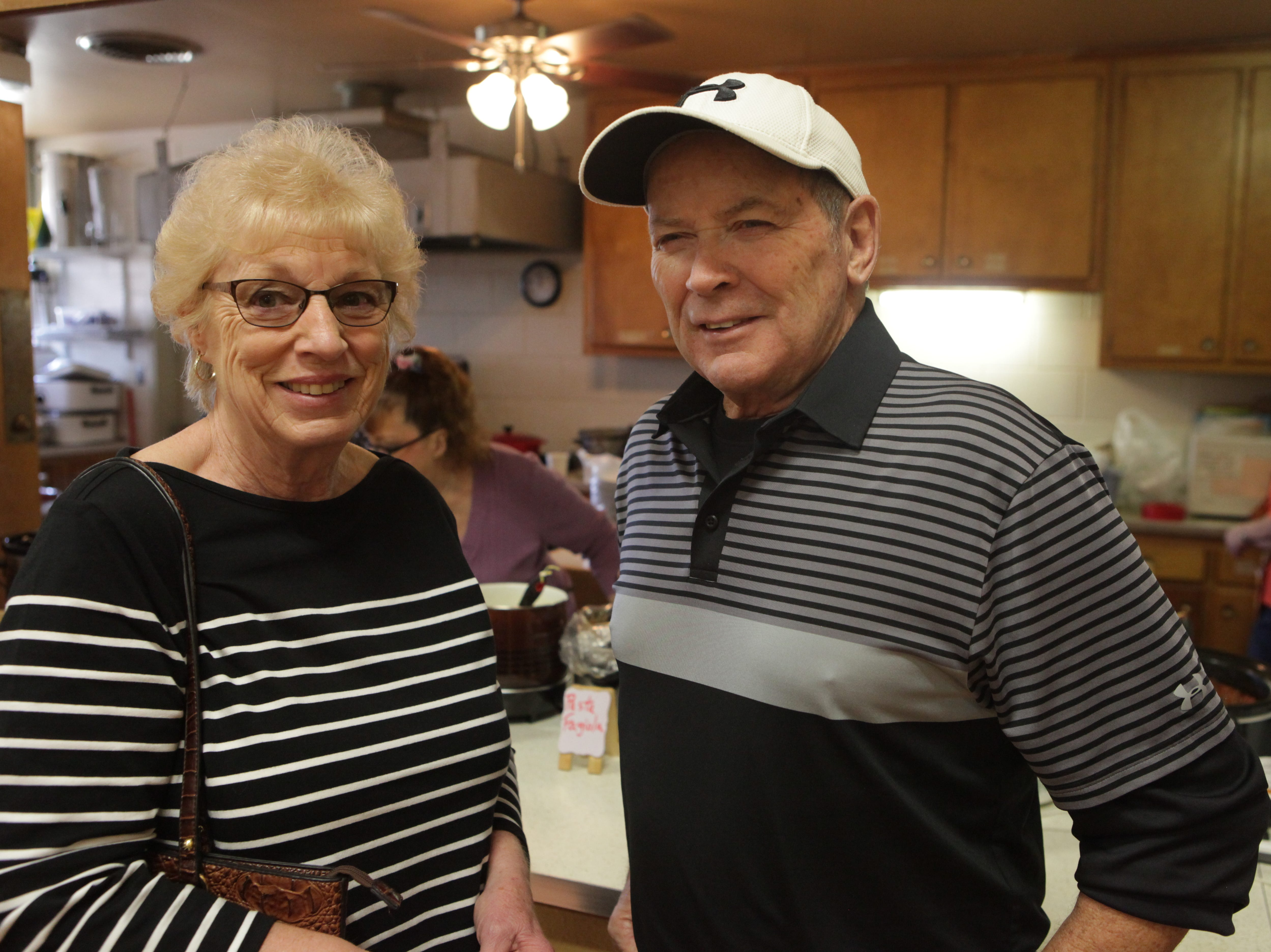 Miriam and Chuck Babcock smile during Empty Bowls 2019 at New Providence United Methodist Church.