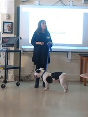 Lauren DeNoma, of Best Friend Dog and Animal Adoption based out of Cranford, visited students with special friend Shorty.