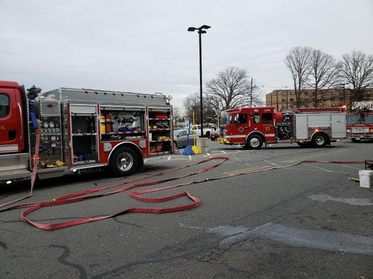 Several firetrucks have responded to an accident with a car into the Inman Grove shopping center in Edison.