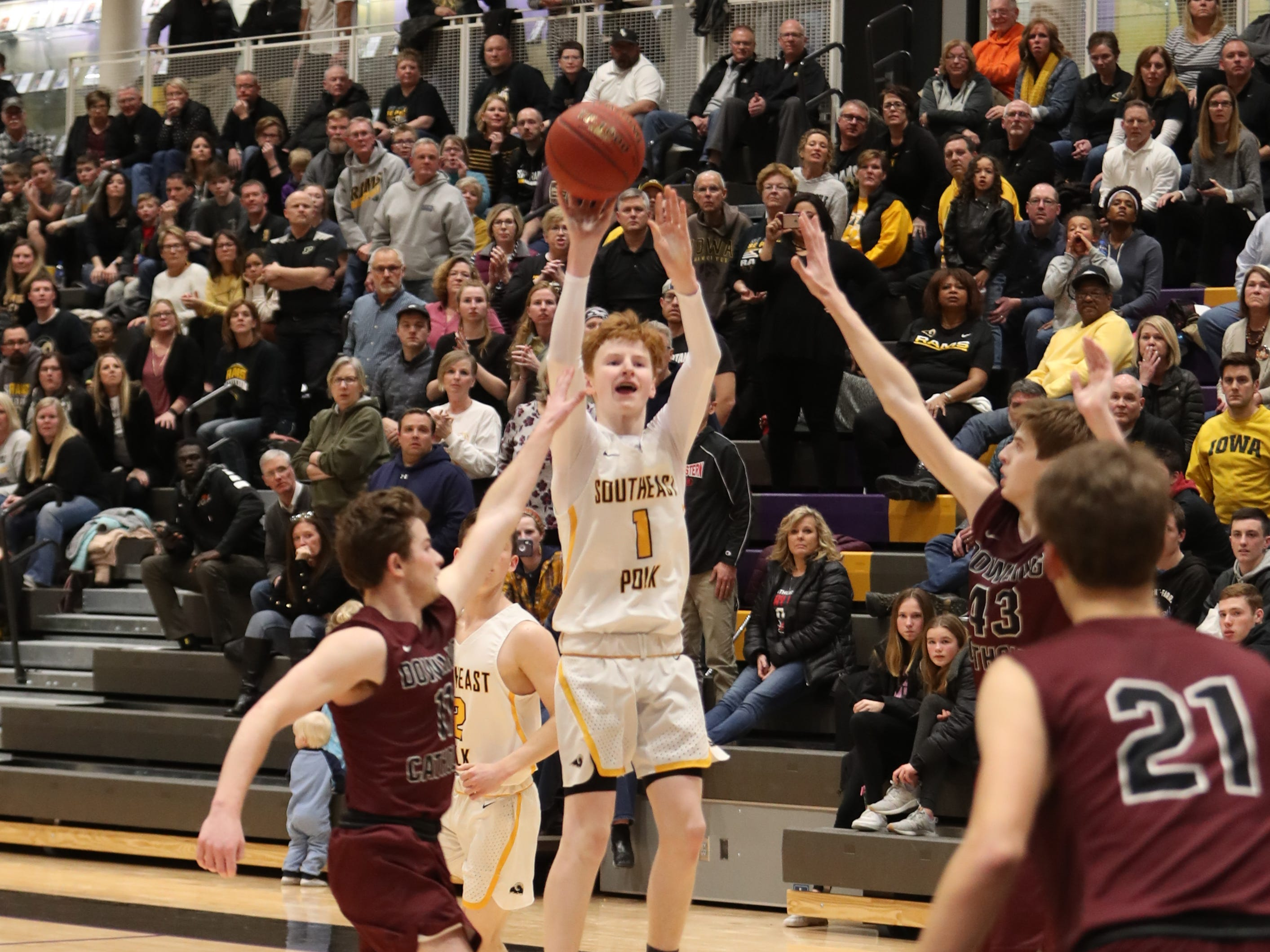 Southeast Polk's James Glenn (1) shoots against Dowling Catholic during their game at Johnston High School in Johnston, Iowa, on Tuesday, Feb. 26, 2019. Dowling won the game 44-40 to advance to state.