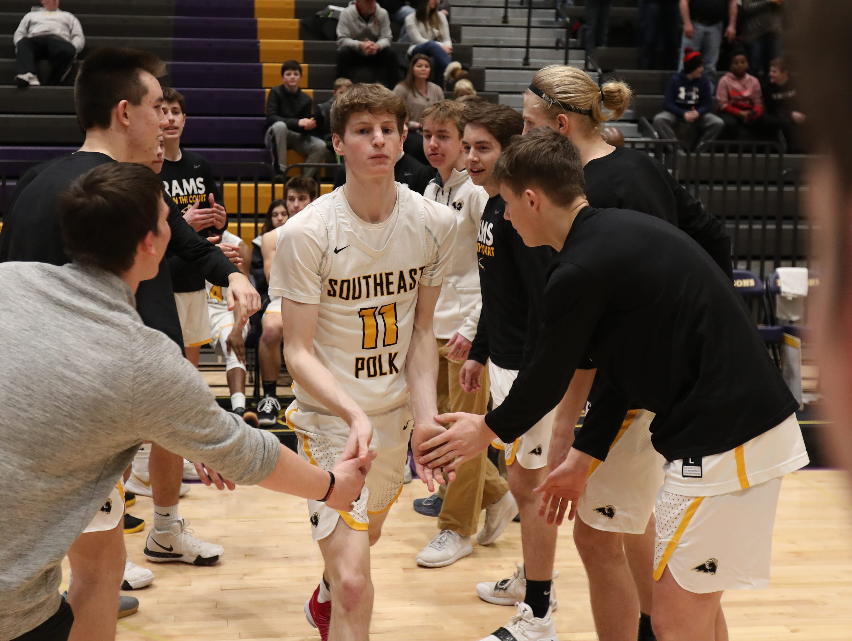 Southeast Polk's Sam Glenn (11) is introduced before the game against Dowling Catholic at Johnston High School in Johnston, Iowa, on Tuesday, Feb. 26, 2019.