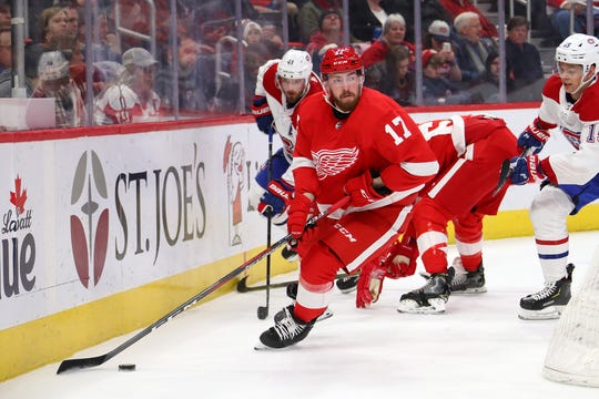 Filip Hronek #17 of the Detroit Red Wings could see an even bigger role with Mike Green (virus) out at least 7-10 days.