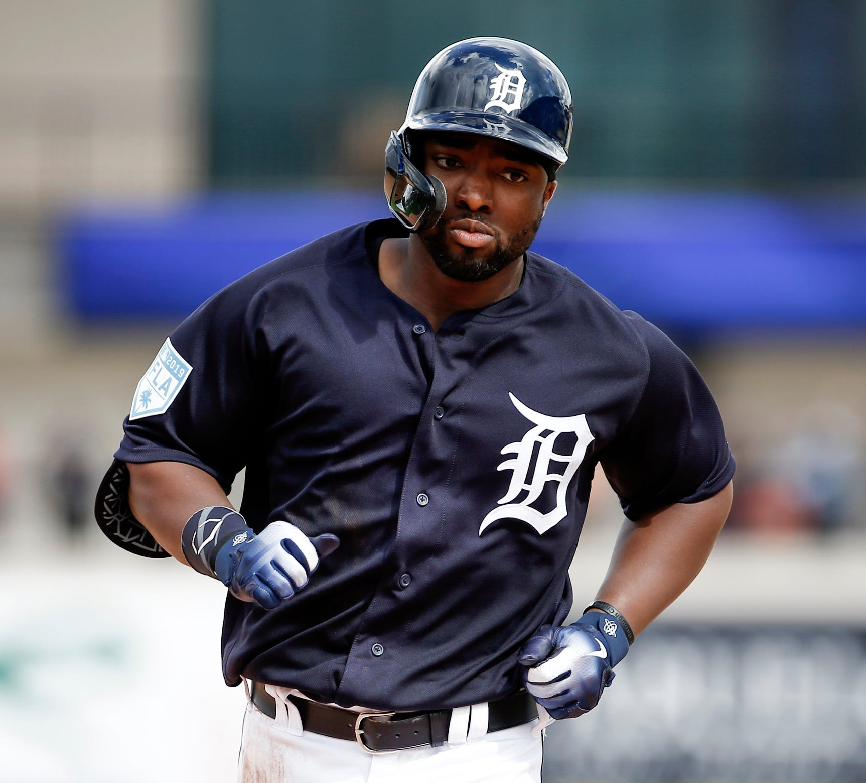 Tigers left fielder Christin Stewart rounds third base after hitting a grand slam home run during the third inning of the spring training game against the Yankees at Publix Field at Joker Marchant Stadium on Wednesday, Feb. 27, 2019.