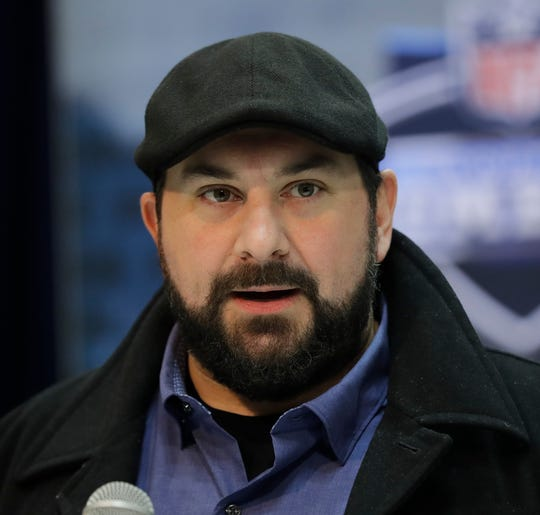 Lions coach Matt Patricia speaks during a news conference at the NFL combine on Wednesday, Feb. 27, 2019, in Indianapolis.